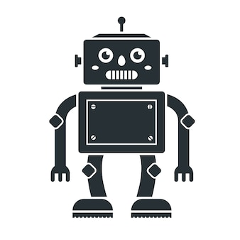 Icon of cute robot toys on a white .  character in black.