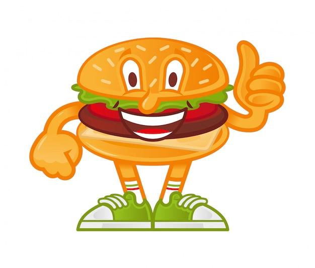 Icon cute smile cartoon character american hamburger which stand and show thumb up like it.