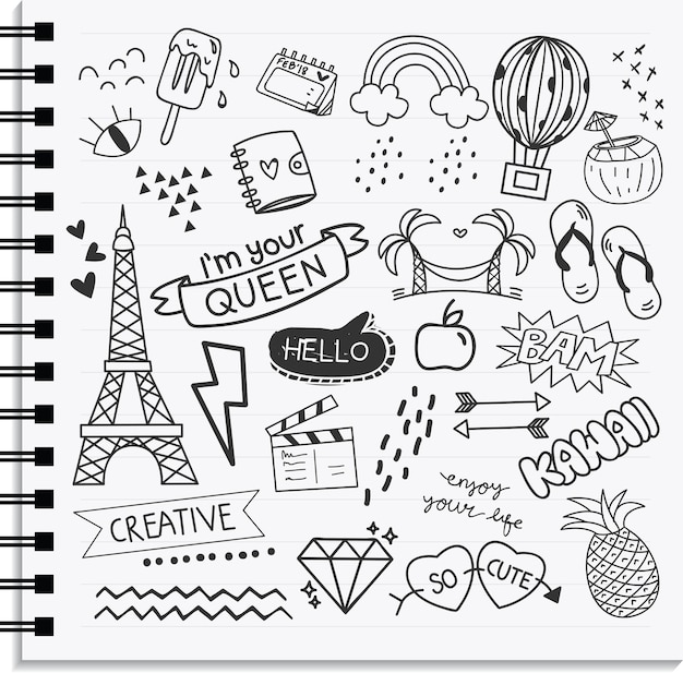 Icon and design element set in hand drawn doodle style