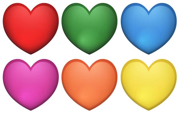Дизайн иконок в форме сердца во многих цветах