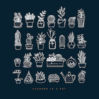 Icon flat set plants in pots drawing on dark blue background