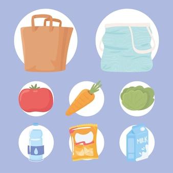 아이콘 음식과 가방 프리미엄 벡터