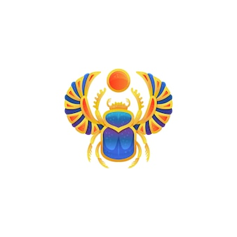 Icon of golden egyptian scarab with blue enamel, flat vector illustration isolated on white surface