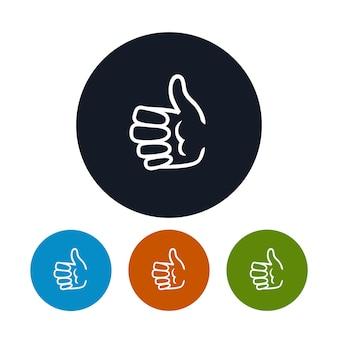Значок руки показывает палец вверх, векторные иллюстрации