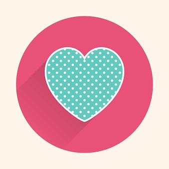Значок сердца иллюстрации. карточка дня святого валентина для праздничного шаблона. креативный и роскошный стиль