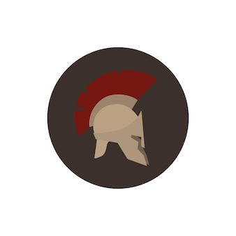 Icon helmet, antiques roman or greek helmet for head protection soldiers with a crest of feathers or horsehair with slits for the eyes and mouth, vector illustration