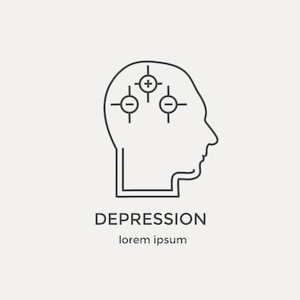 Icon  of human depression intelligence psychology models mental operations in line icons set