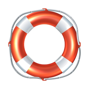 Icon illustration of striped life raft. isolated on white background.