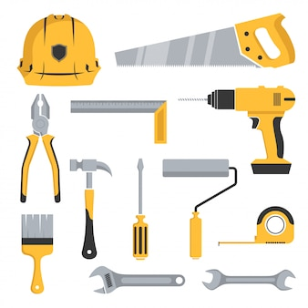 Icon illustration of tool kit collection. flat color style isolated on white background