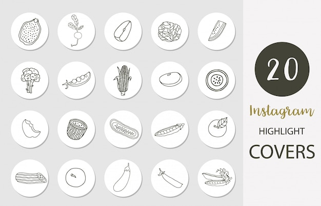 Icon of instagram highlight cover with fruit,vegetable,apple,corn in boho style for social media
