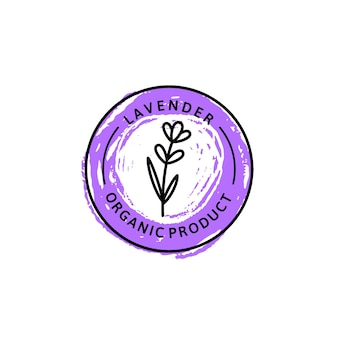 Icon of lavender in trendy linear style. vector herbal organic lavender logo of packaging design template and emblem. can be used for oil, soap, cream, perfume, tea and other things