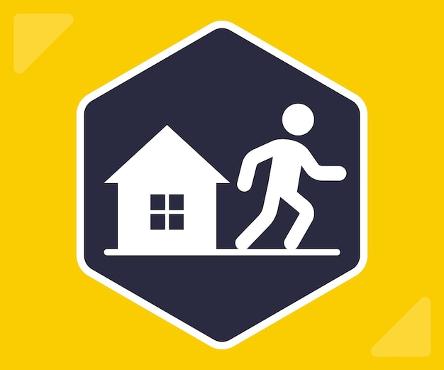 Icon leave home. do not comply with quarantine. flat vector sign.