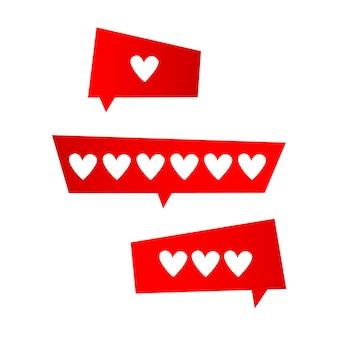 Значок нравится, набор сердца последователей значка. векторная иллюстрация.