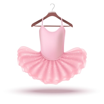 Icon little baby girl pink ballerina dress on a hanger. isolated on white background illustration.