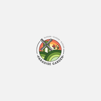 Icon logo agriculture with bold line fulcolor