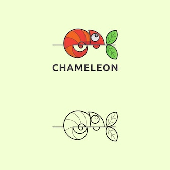 Icon logo chameleon with simple style