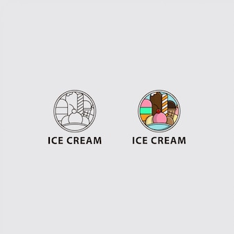 Icon logo of ice cream in the circle