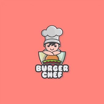 Icon logo of little chef and hamburger