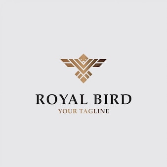 Icon logo luxury flying bird with gold color