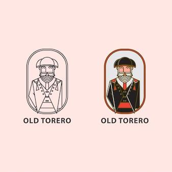Icon logo of old torero the bullfighter of matador