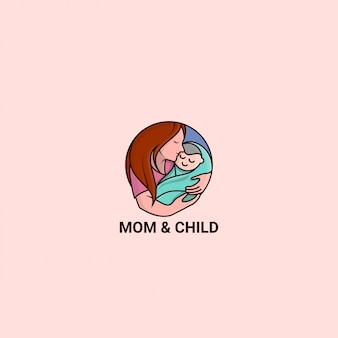 Icon logo premium  mom and child