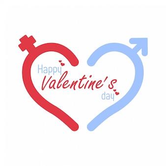 Значок мужской и женский знак. символ сердца вектор день святого валентина