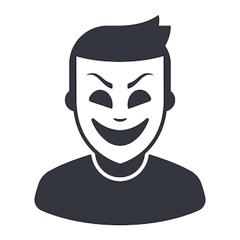 Icon of a man in a theatrical mask. flat vector illustration.