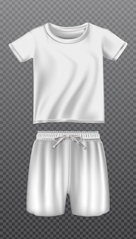 Icon mock up of white t shirt and shorts for sport or training. isolated on transparent background.