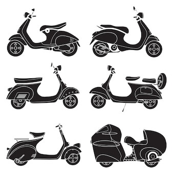 Icon of motor bike scooter drawing black