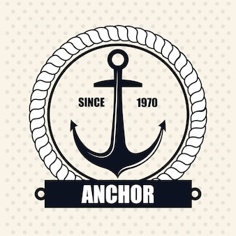 Icon nautical label emblem isolated