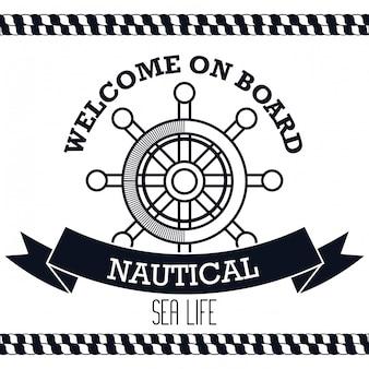 Icon nautical timon boat label