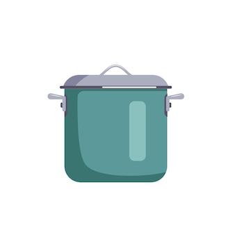 ふた付きの緑の鍋のアイコンランチスープを調理するための台所用品フラットイラスト