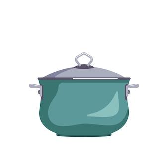 Икона зеленой кастрюли с крышкой кухонная утварь для приготовления обеденного супа плоской иллюстрации