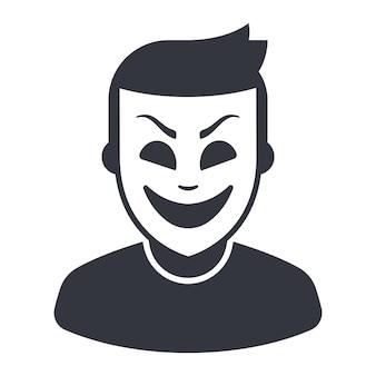 Икона мужчины в театральной маске. плоские векторные иллюстрации.