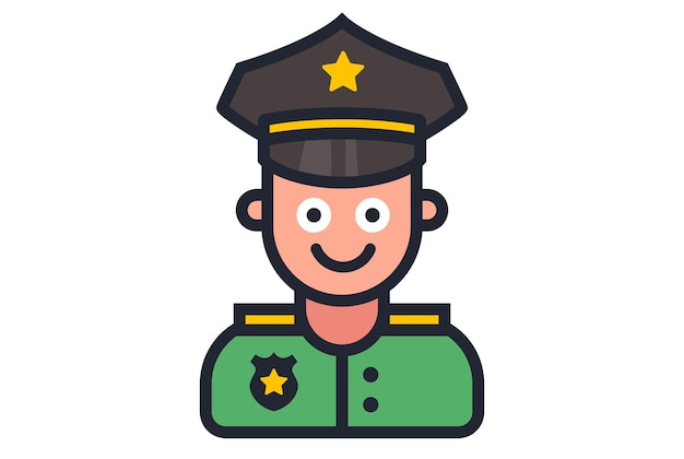 흰색 바탕에 웃는 경찰관의 아이콘입니다. 평면 벡터 일러스트 레이 션