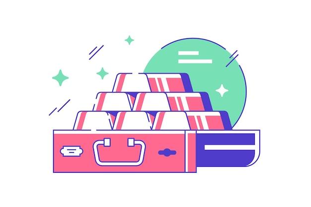 금괴의 피라미드를 저장하는 은행의 아이콘. 플랫 스타일의 귀중한 막대에 사용하는 재무 기호 보호 서비스의 개념입니다. 삽화.