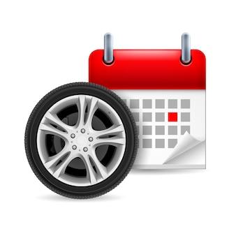 표시된 요일이있는 자동차 타이어 및 달력 아이콘