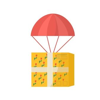 気球で配達するための粘着テープ付きカートンパッケージのアイコン。オンライン配達サービスの概念のための郵便小包、パック、箱。ベクター