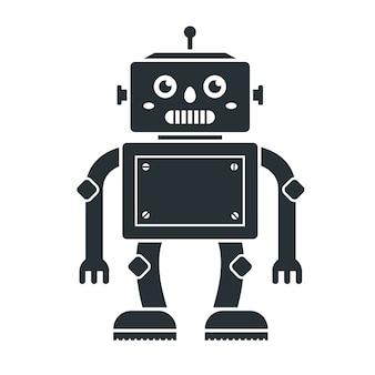白地にかわいいロボット玩具のアイコン。黒のキャラクター。