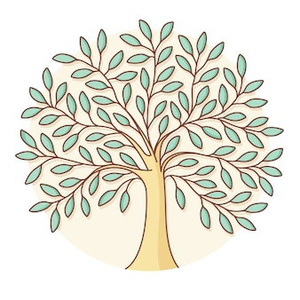 円の緑の木のアイコン