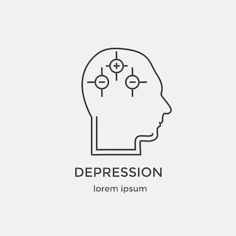 人間のうつ病インテリジェンス心理学のアイコンは、ラインアイコンセットで精神活動をモデル化します