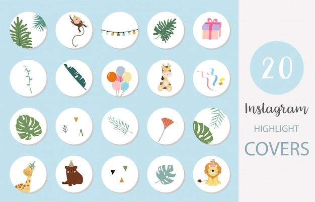 소셜 미디어를위한 꽃, 동물, 잎과 인스 타 그램 하이라이트 커버의 아이콘