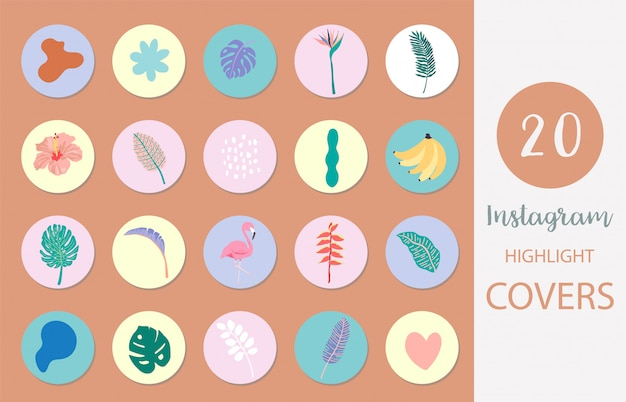 소셜 미디어를위한 여름 스타일의 손바닥, 잎, 플라밍고와 인스 타 그램 하이라이트 커버의 아이콘