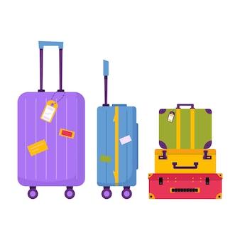 Икона багажа для приключенческого туризма, путешествий. путешествие декоративное оформление с чемоданом, багажом для путешественника. плоский мультфильм современный вектор.