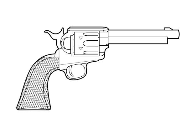 복고풍 총의 아이콘입니다. 라인 스타일.