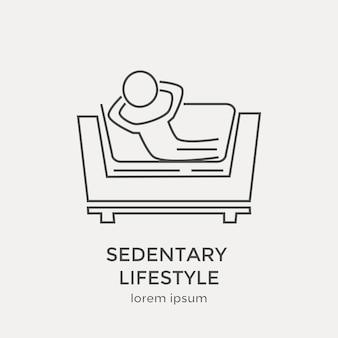座りがちな生活のアイコン。モダンな細い線のアイコンを設定します。フラットデザインのウェブグラフィック要素。