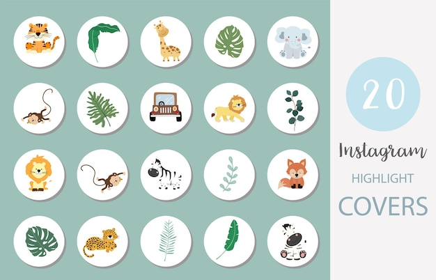 사파리, 동물, 잎이있는 소셜 미디어 하이라이트 커버 아이콘