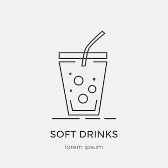 청량 음료의 아이콘입니다. 현대 얇은 라인 아이콘을 설정합니다. 평면 디자인 웹 그래픽 요소입니다.