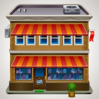 ショップストアやカフェのファサードのアイコン