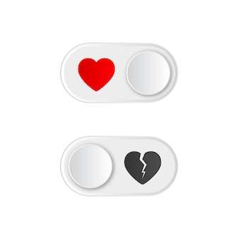 Icon on and off toggle switch button with red heart and broken.